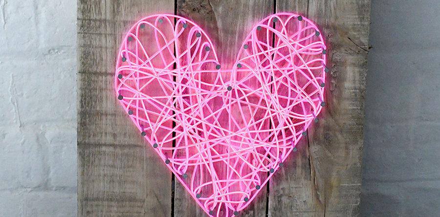 How To Make A String Art Neon Heart Sign Pillar Box Blue