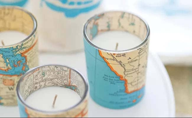DIY Map Votive candles
