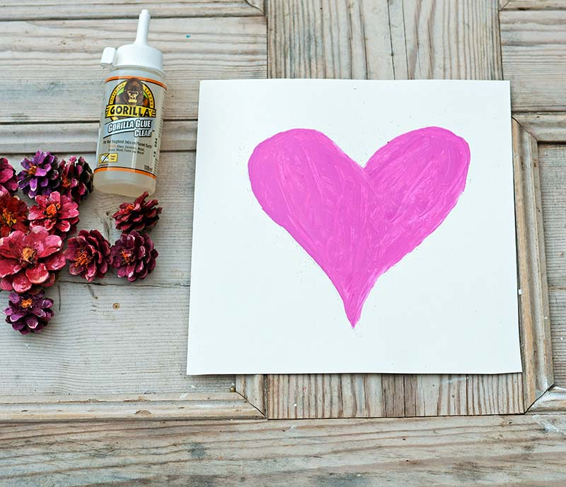 Painted pink heart of picture background
