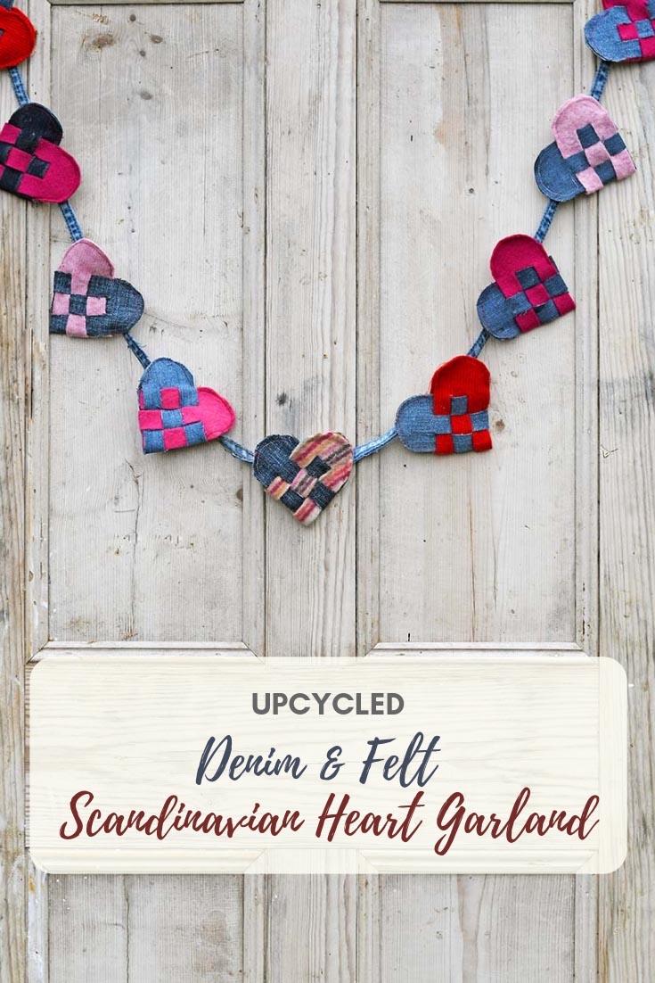 Scandinavian pleated hearts garland
