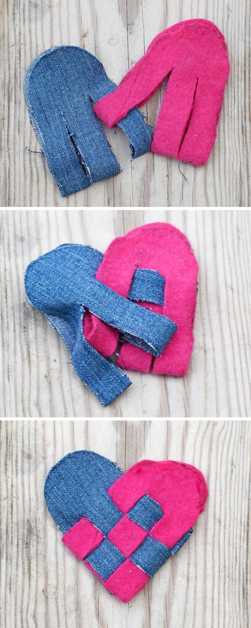 Making upcycled woven scandinavian hearts for decoration
