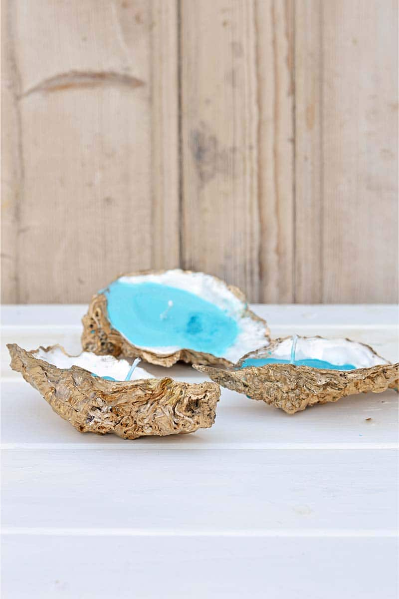 Handmade candles in oyster shells