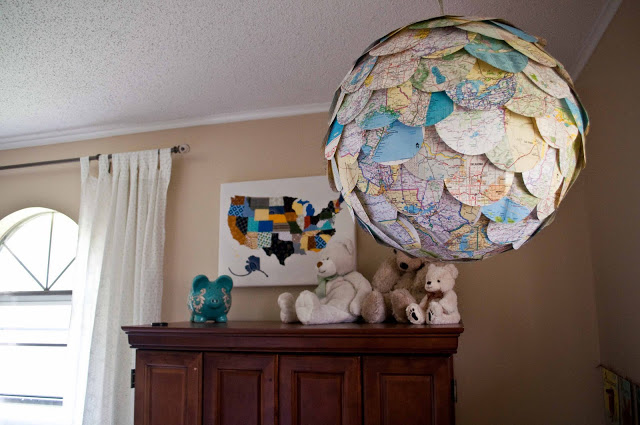 Upcycled map pendant light.