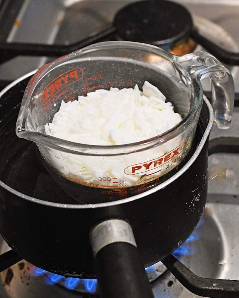 Melting the candle wax in a bain-marie