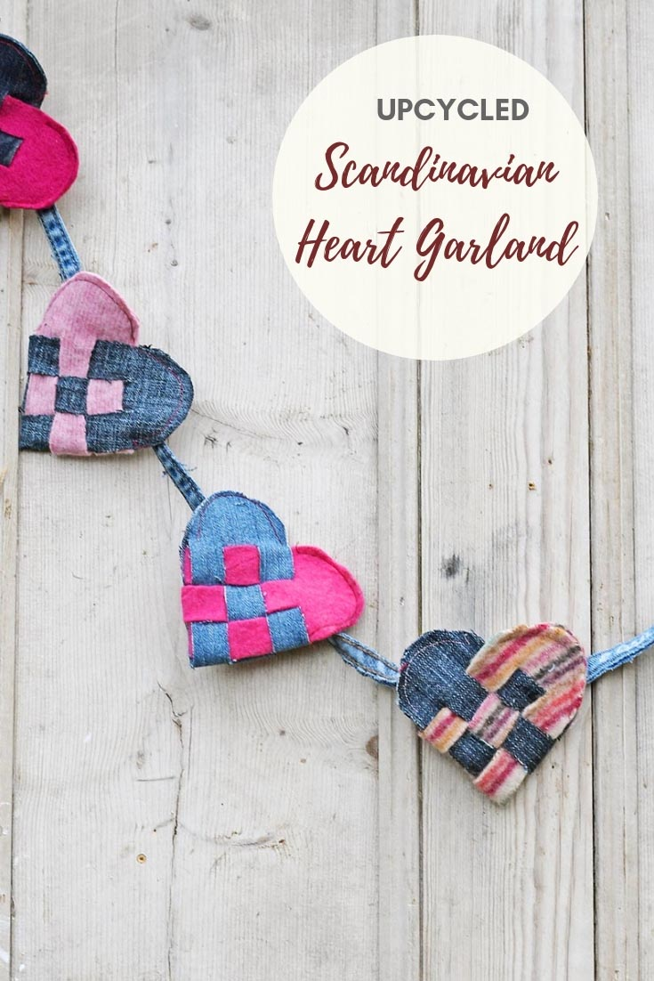 Upcycled denim and sweater felt heart garland