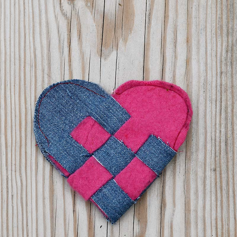 Stitched woven heart