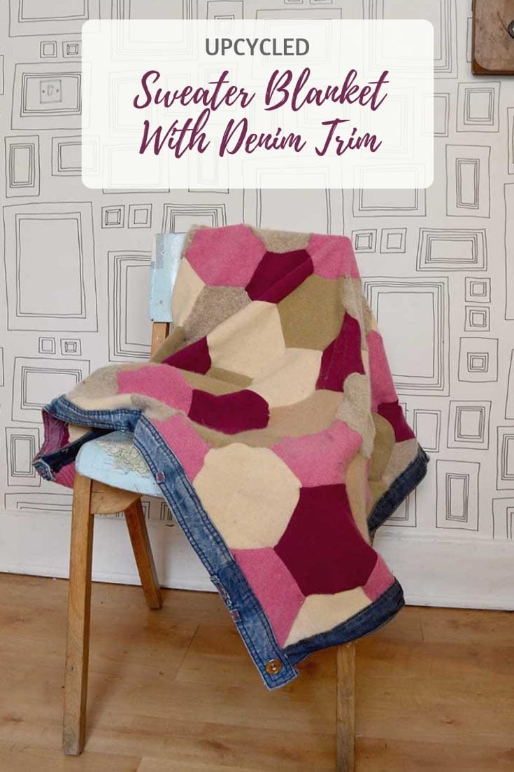 Hexagon upcycled sweater blanket