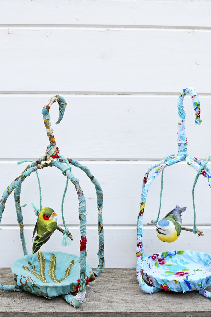 upcycled fabric birdcage spring decoration