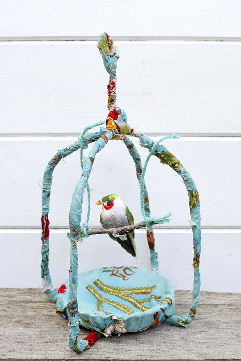 scrap fabric birdcage
