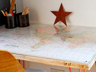 DIY unique world map desk