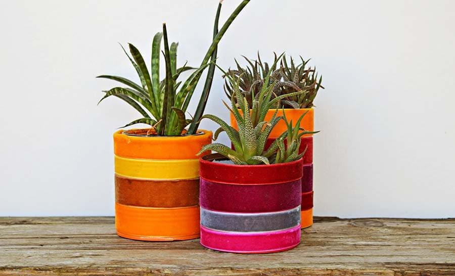 Velvet upcycled planters