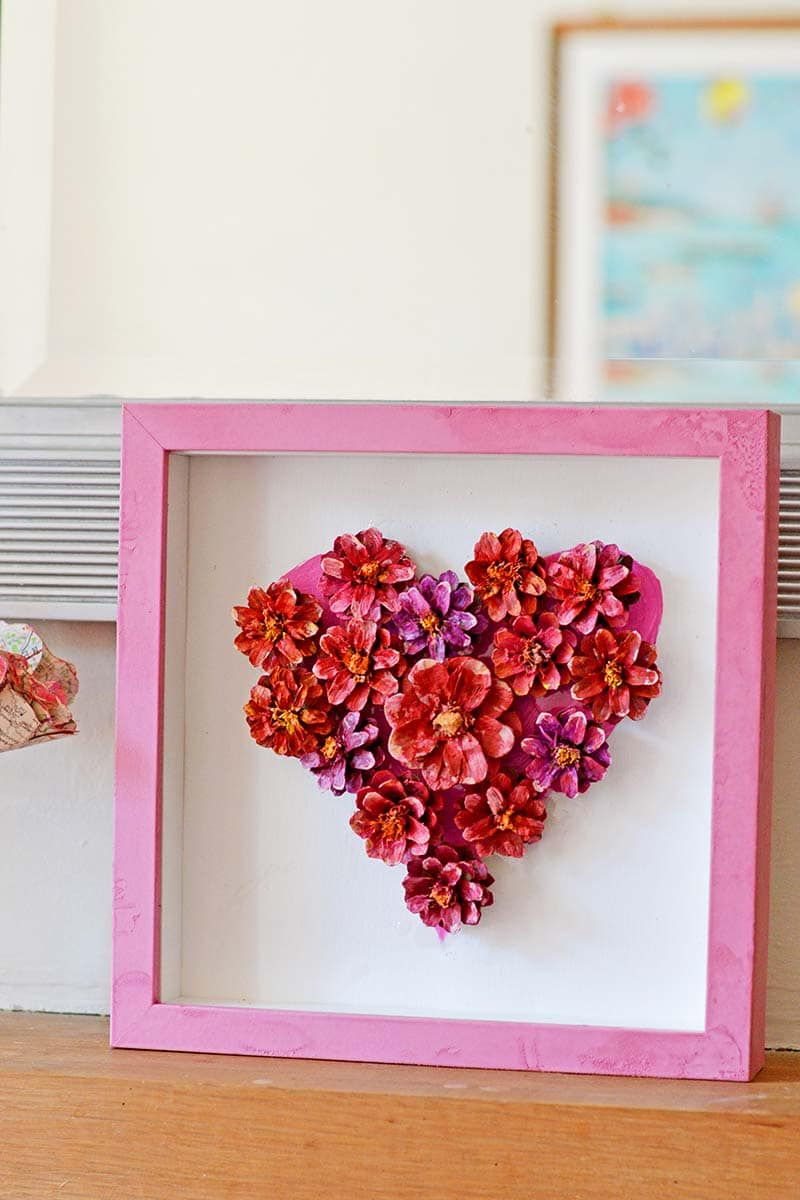 Pinecone flower heart decoration for Valentine's