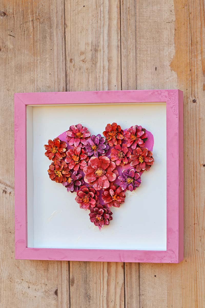 Pinecone flower heart for a Valentine's day decoration