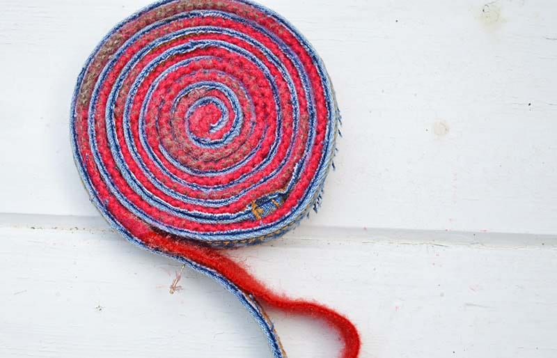 Coiling upcycled place mats
