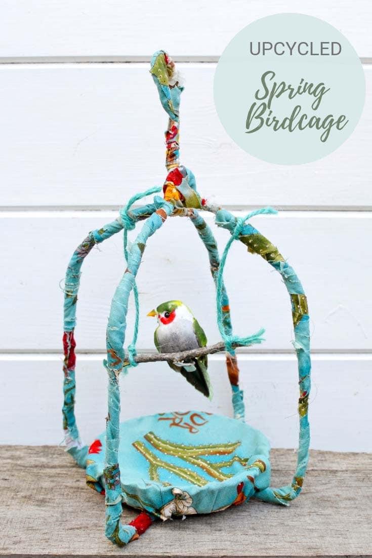 scrap fabric birdcage decoration