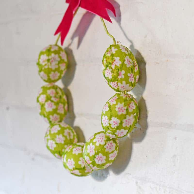 Marimekko Easter egg wreath hung on a wall