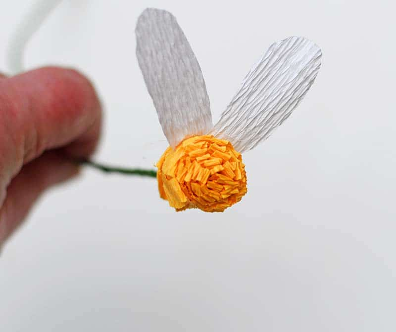 gluing small daisy petals
