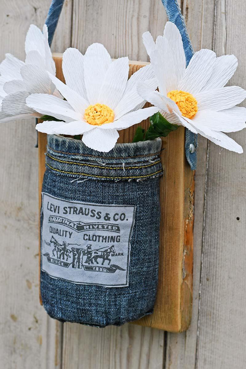 Denim mason jar wall vase