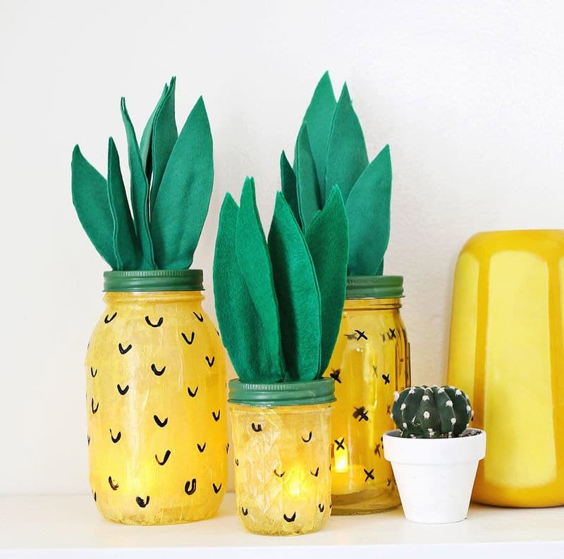 Pineapple mason jar lights