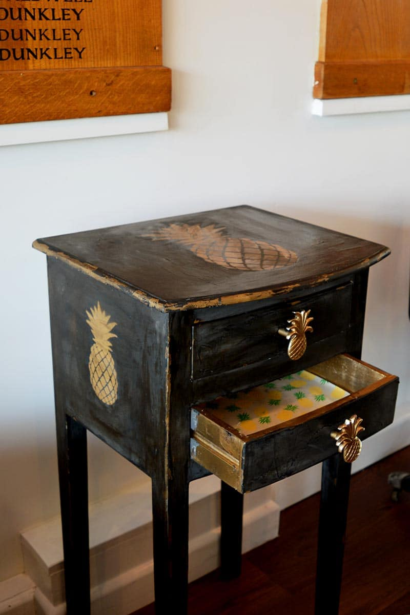 Finished pineapple stenciled console table