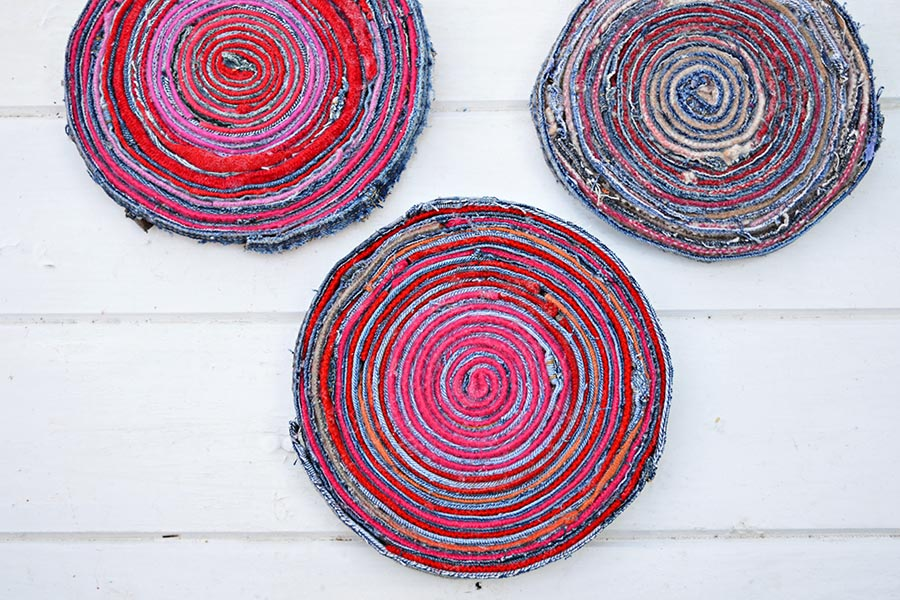 Denim upcycled fabric placemats