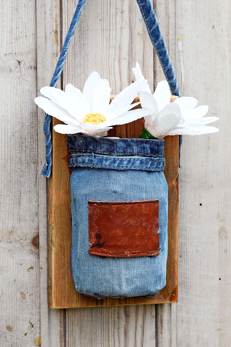 Denim mason jar vase