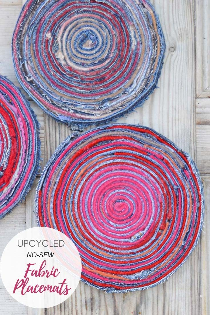 Upcycled fabric placemats made with the seams of old jeans and sweater wool scraps and Gorilla contact adhesive clear. No-sew. #placemat #trivet #repurposeddenim #denim