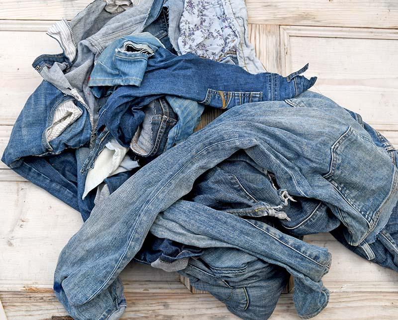 Pile of jeans for handmade chevron rug