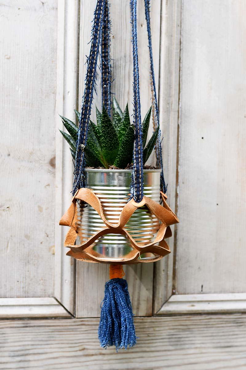 Recycled leather hanging plant pot