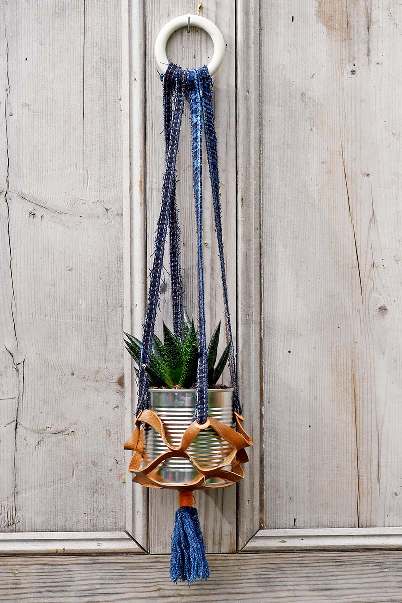 Indoor leather recycled hanging planters