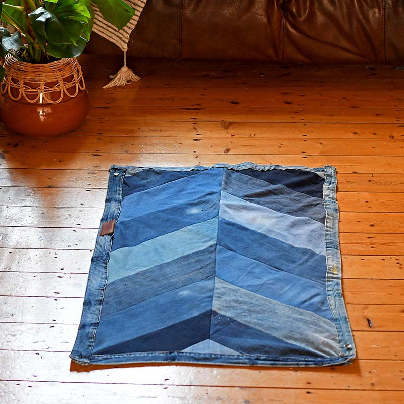 handmade chevron rug in study