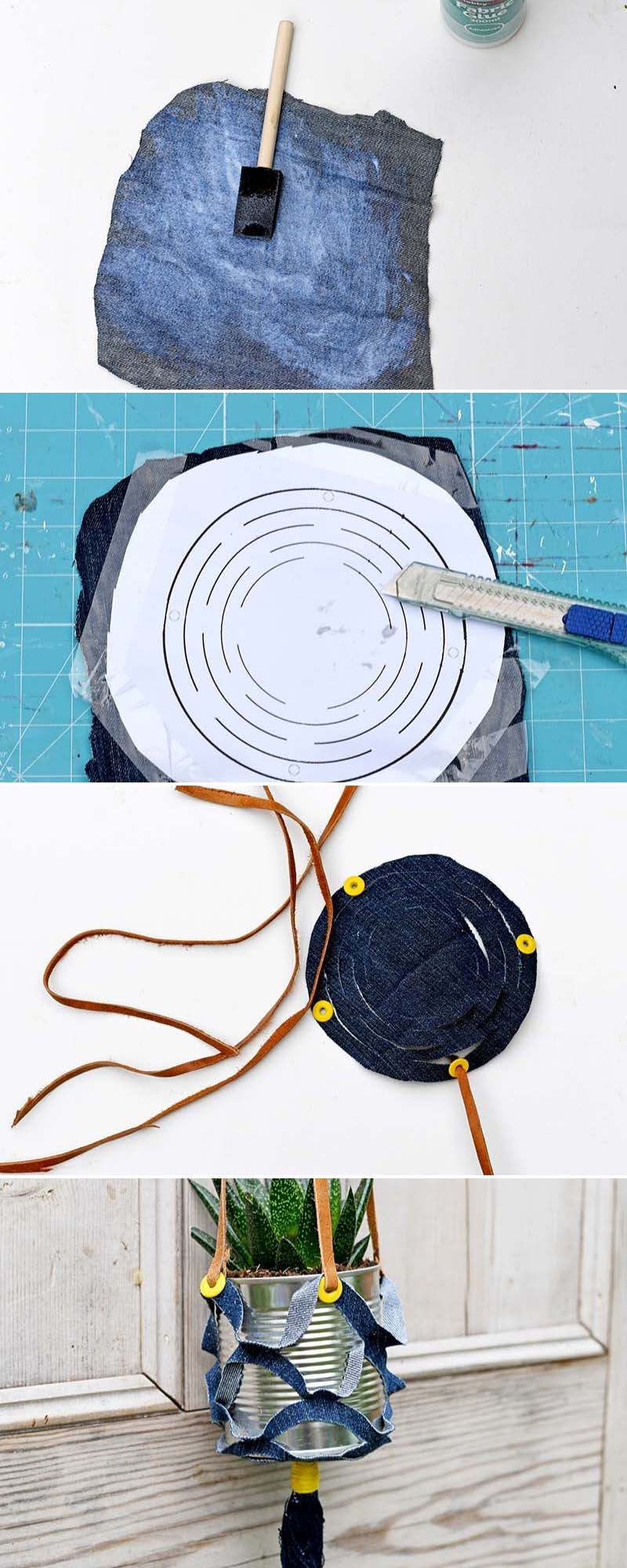 how to make denim recycled hanger planters