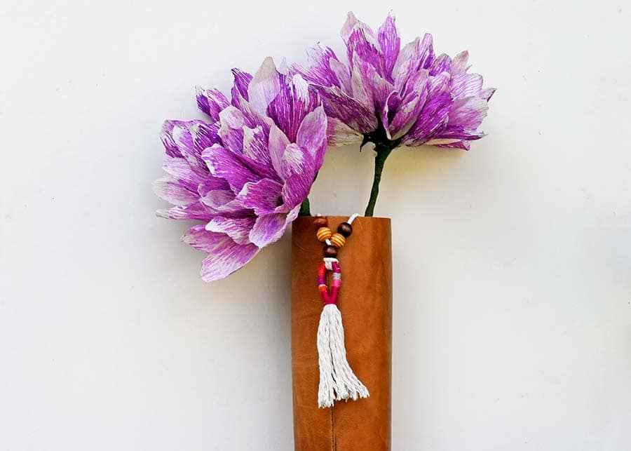 Boho vase and crepe paper flowers handmade