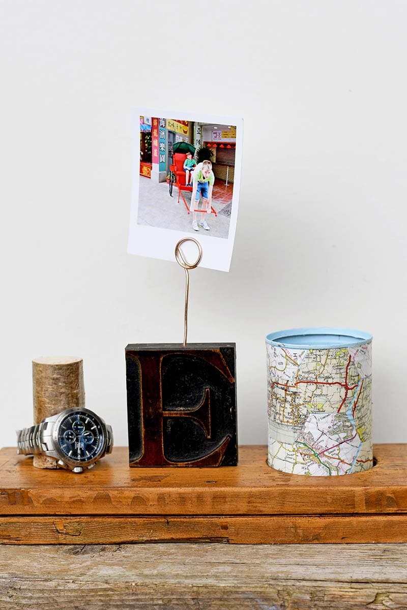 DIY fathers day gift photo holder and nightstnad organizer