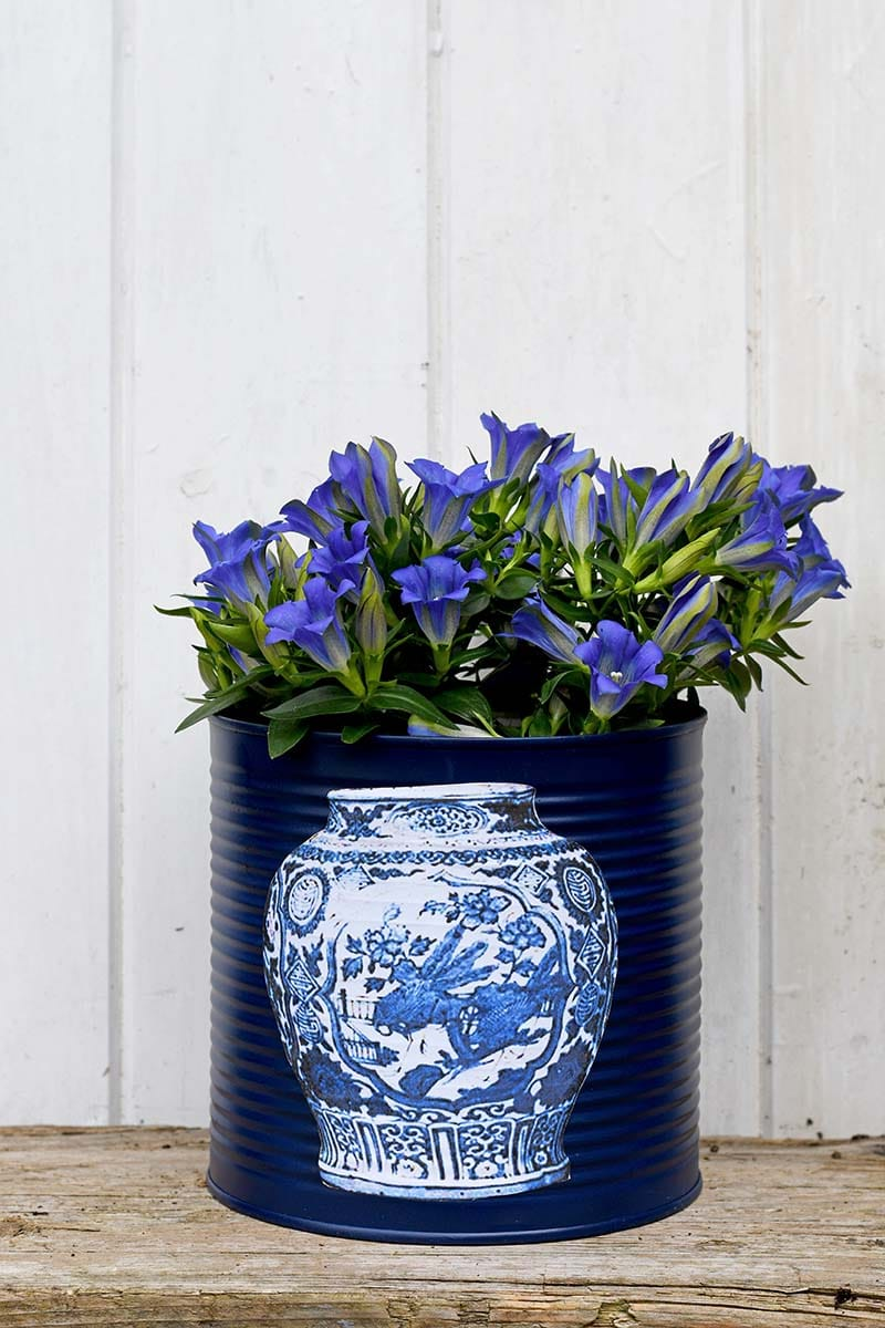 Faux Ming vase tin can planter
