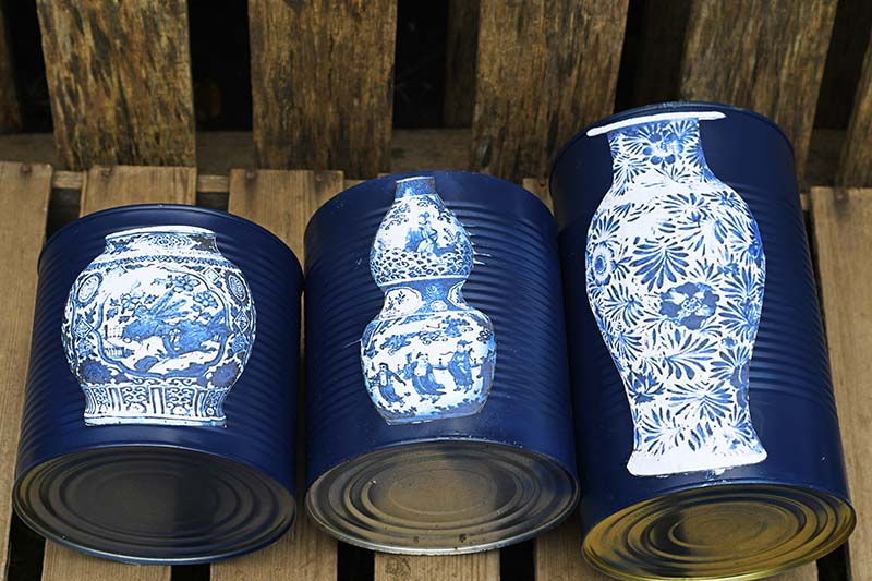 Trio of mod podge faux tin can ming vases