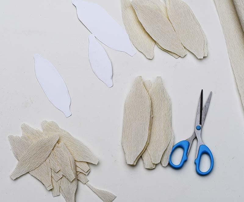 Cut out crepe paper petals for giant paper flowers
