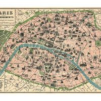 "Vintage Paris Map Monuments Poster by Cavallini & Co. 20"" x 28"""