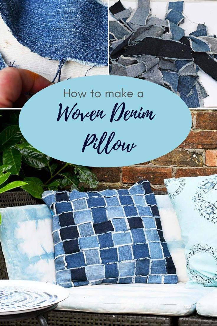 How to make a fabulous Boho woven denim pillow from your old jeans.  This is a great scrap buster.  #upcycleddenim #diypillow