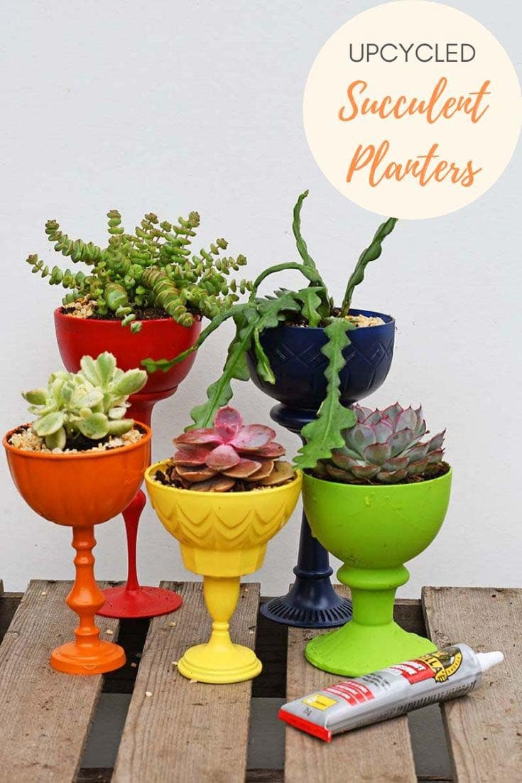 rainbow repurposed planters