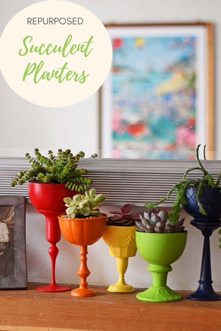 Brighten your home with a rainbow of repurposed planters for succulents. All you need for this easy quick upcycle is some junk and glue. #diyolanters #succulents