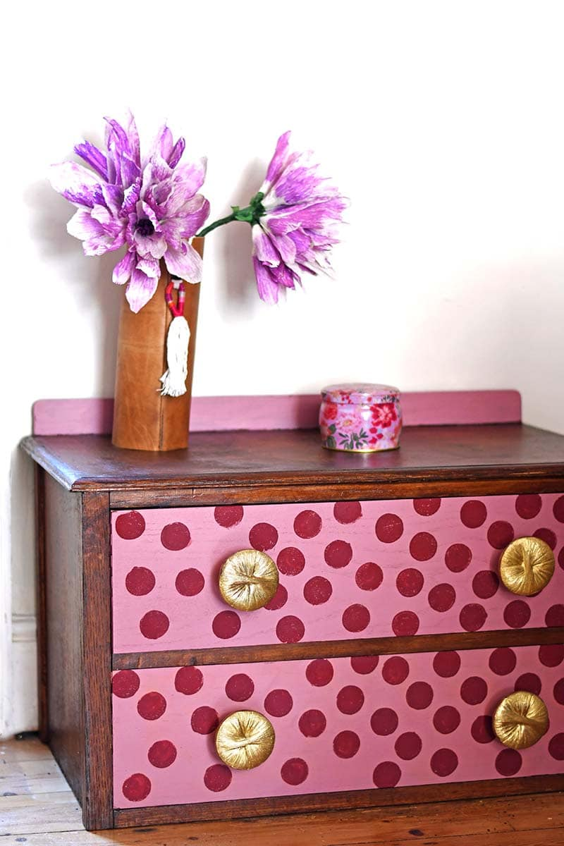 How to paint polka dots on furniture