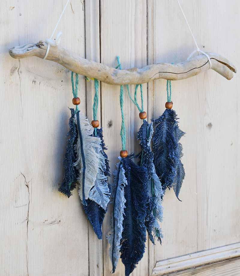 denim feather wall decor