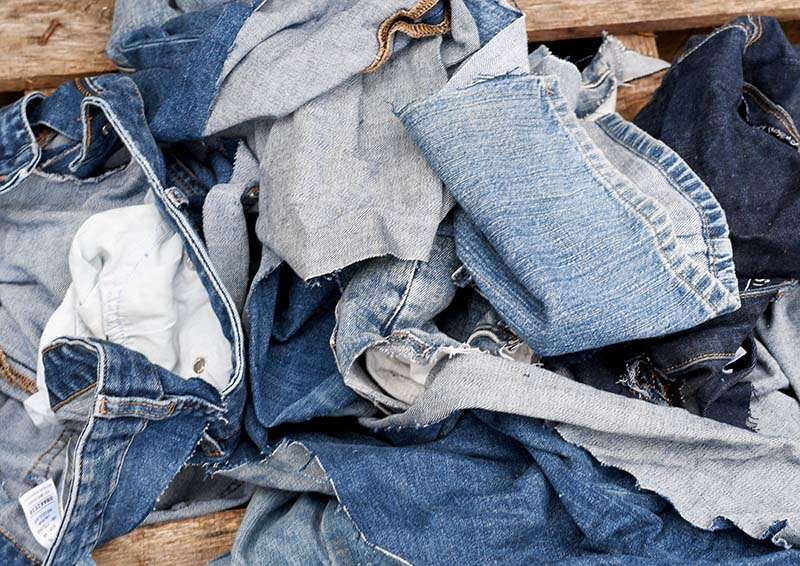 Denim scraps from old blue jeans