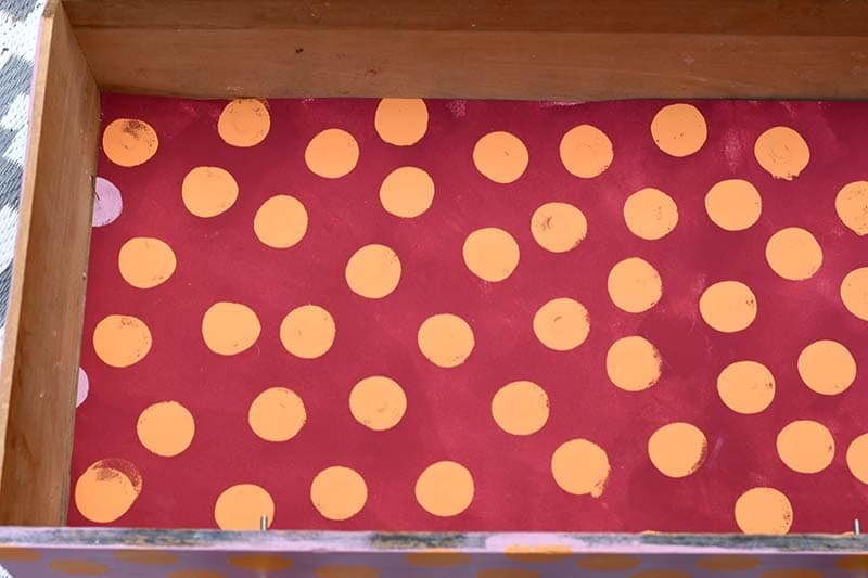 how to paint polka dot drawer liners