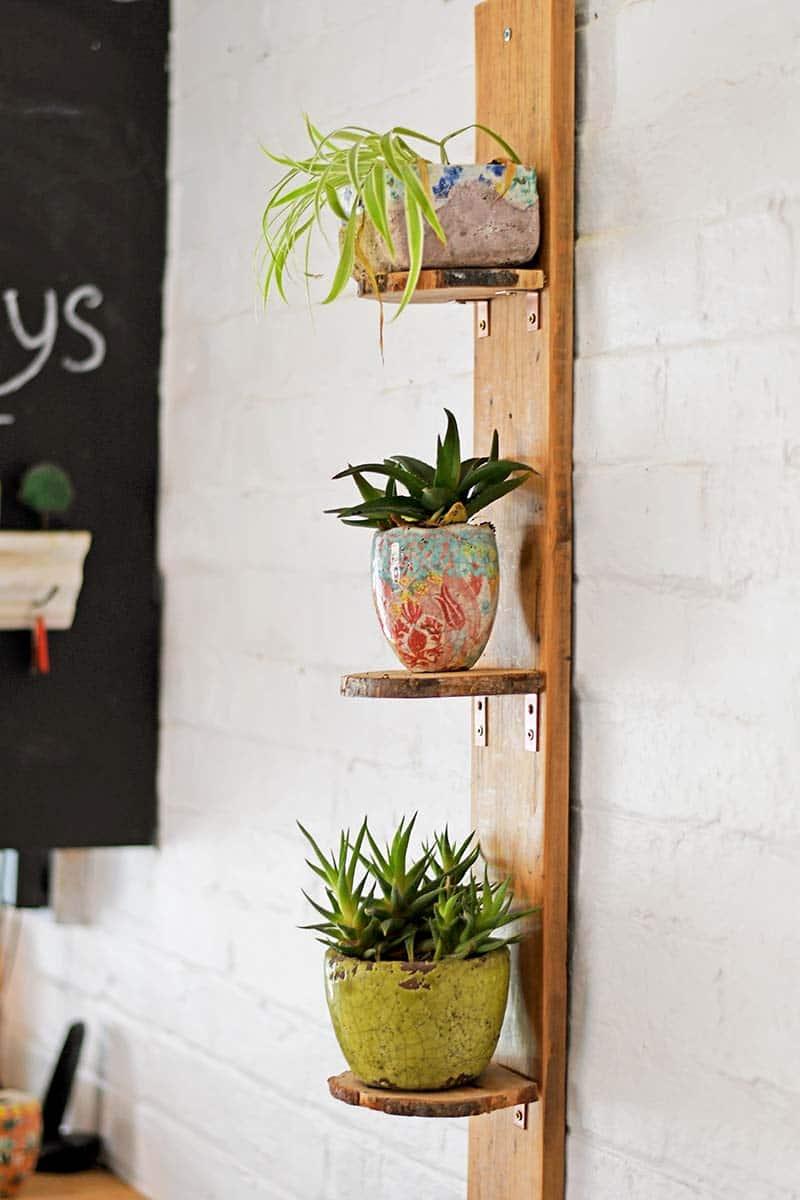 Finished 3 tier DIY planter shelves