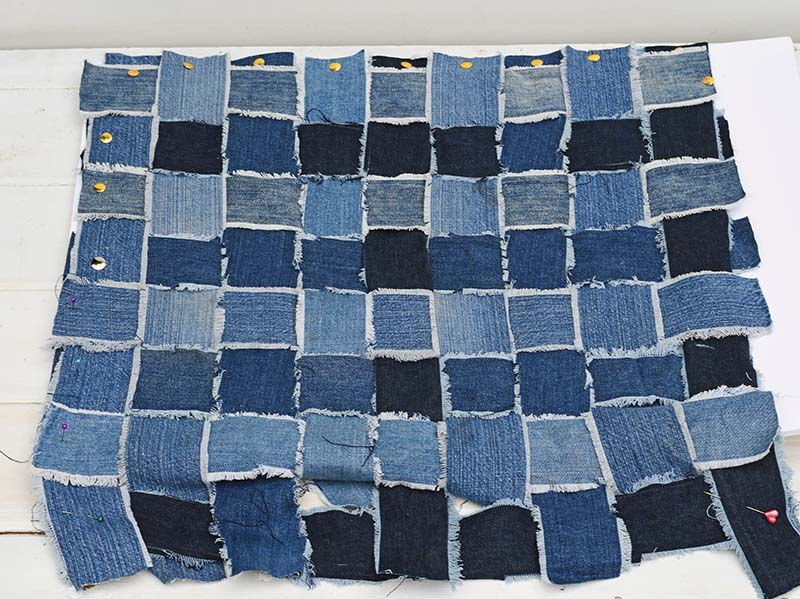 woven denim pillow strips