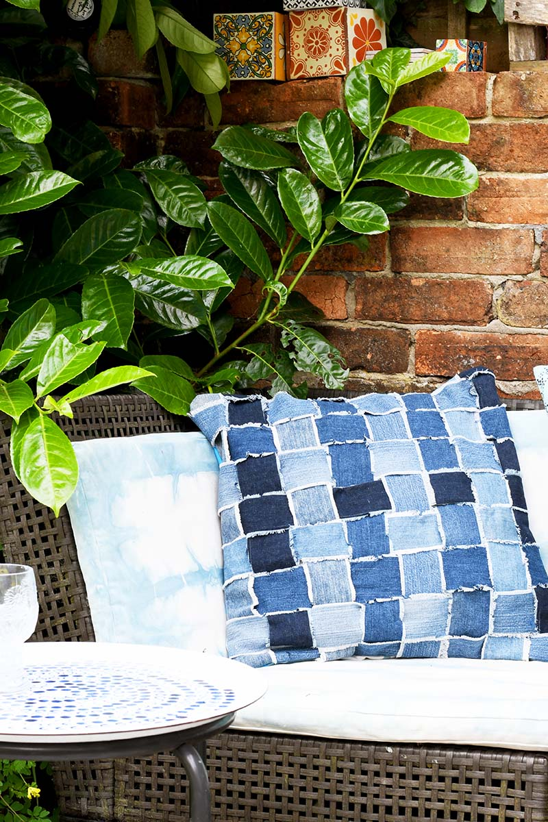 upcycled woven denim pillow