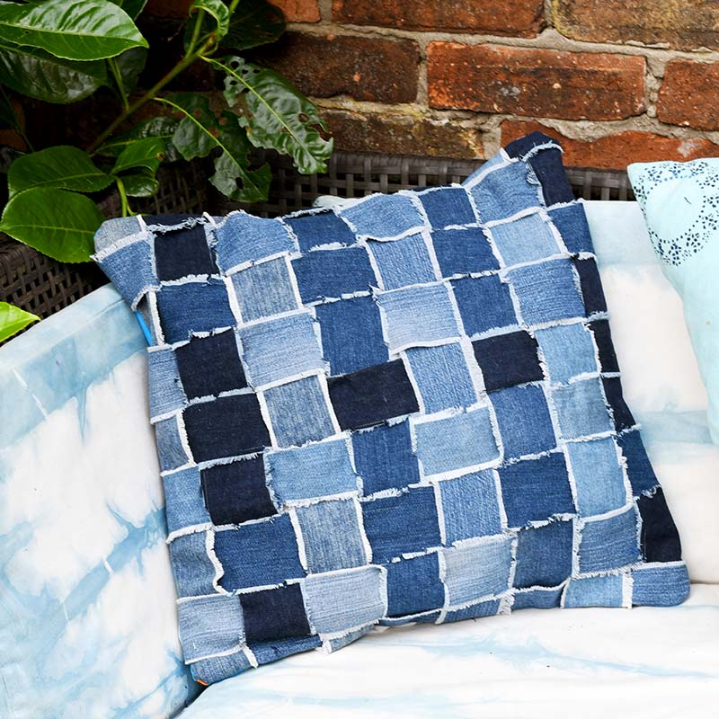 woven denim pillow