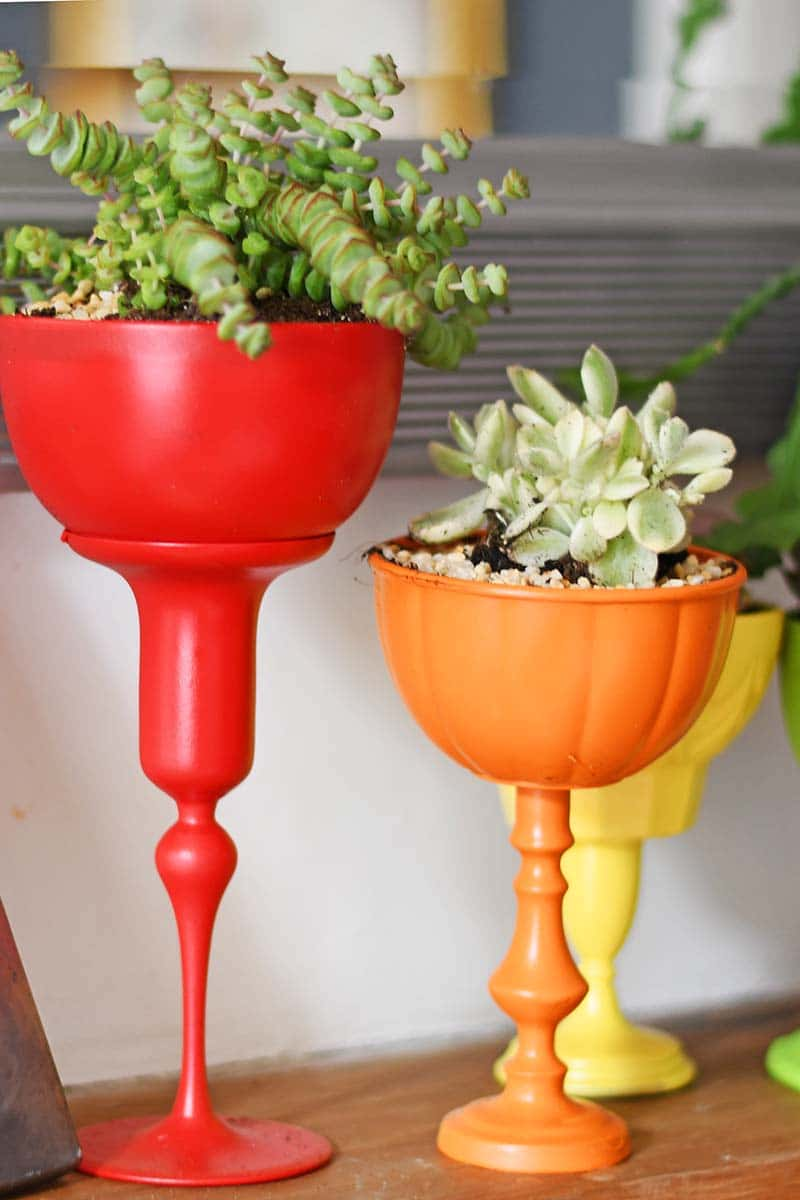 Upcycled tall planters